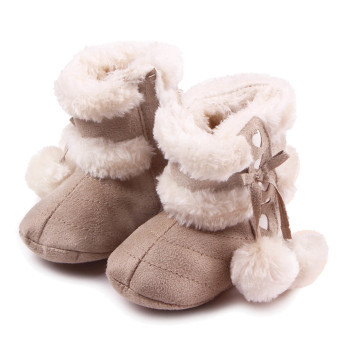 Newborn Baby Infant Winter Warm Soft Cotton Shoes Boots Christmas Boots Light Khaki Size M for 6-12 Months Old Babies - intl