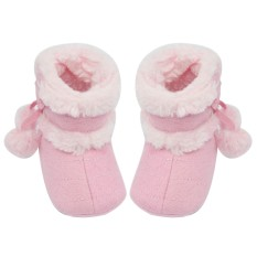 Newborn Baby Infant Winter Warm Soft Cotton Shoes Boots Christmas Boots Light Pink Size L for