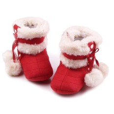 Newborn Baby Infant Winter Warm Soft Cotton Shoes Boots Christmas Boots Red Size M for 6