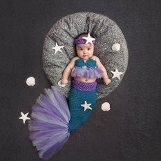 403904edb14 Newborn Girl Mermaid+Headwear Sets Baby Photography Props New Born Infant  Baby Cute Crochet Fotografia