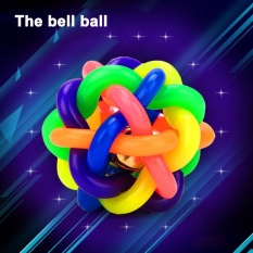 Oscar Store 10cm Diameter Pet Ball Rainbow Color Bell Rubber Toy Pet Supplies Dog Cat Voiced - Intl By Oscar Store.