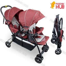 Phoenixhub Twin High Quality Double Baby Stroller Tandem Stroller Push Chair Foldable Stroller (red) By Phoenix Hub.