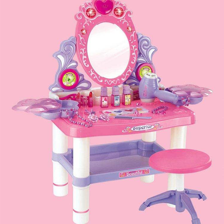 Play Set Dressing Table Seven Diffe With Light Cosmetics Children Simulation Toy For Role