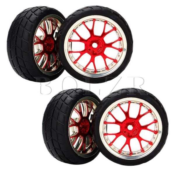 RC Lain 1:10 Mobil Datar Gandum Kisi Ban Bentuk Y Hitam + Roda Merah 4 Set Hub Velg