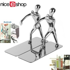 NiceEshop 2pcs Stainless Steel Nonskid Bookends,Office Library Decoration  Kung Fu Man Bookends,Silver