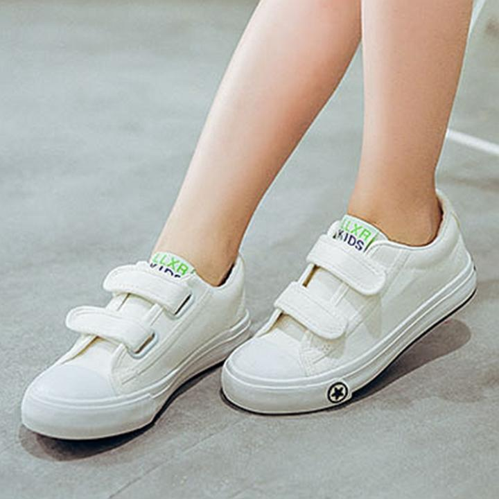 Sixty-one girls Velcro games boy men canvas shoes white shoes Clothing Accessories Girls Shoes Sneakers