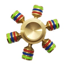 Fidget Spinner Rainbow Wheel Solid Brass Metal 6 Hands Gold