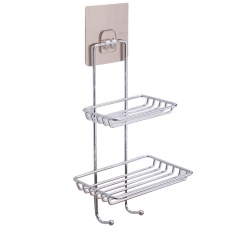 Stainless Steel Wall Mounted Sticky Shower Bathroom Kitchen Rack Shelf Holder Dual Layer With Hooks For Soap Bath Towel Cleaning Supplies Kitchen Small Gadgets - Intl By Stoneky.