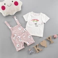 Summer Baby Boys Girls Cartoon Clothes Rainbow T-shirt + Overalls Pants Cotton Suit Children