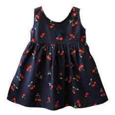 7bead6f31d4 Summer Casual Cherry Print Girls Dress Toddler Bowknot A Line Princess Dress  Cotton Sleeveless Kids Vestidos