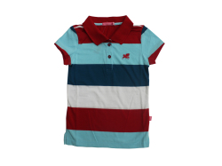 Teen's Short Sleeves Basic Collared shirt for Girls #QORY Stripe - D (Red)