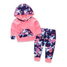 3c37ce1d4021 Toddler Girl Clothes Autumn Children Suit 100% Cotton Floral Print T-shirt+ pants