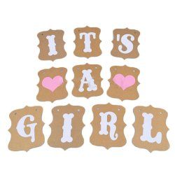 UJS Its A Girl Pink Hearts Bunting Banner Photo Props (Intl)