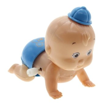 Vanker Cute Baby Boy Kid Children's Windup Crawling Crawl Toy Doll Christmas Gift Blue