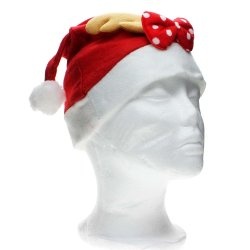 Whyus Santa Claus Costume Hat with Antlers Bowknot Christmas Party Celebration Adult Cap  - INTL