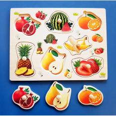 Wooden Inset Board Pegged Puzzle Fruits - Educational And Therapeutic Toy By Christine Gutierrez-Eliseo.