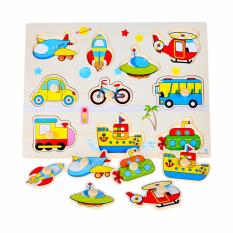Wooden Inset Pegged Puzzle Board Transportation - Educational And Therapeutic Toy By Christine Gutierrez-Eliseo.