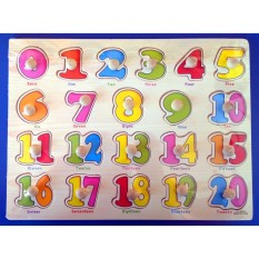 Wooden Pegged Inset Board Puzzle Numbers 0-20 - Educational And Therapeutic Toy By Christine Gutierrez-Eliseo.