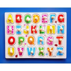 Wooden Pegged Puzzle Board - Upper Case Alphabet Letters By Christine Gutierrez-Eliseo.