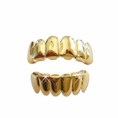 Yika New Custom 14k Gold Plated Hip Hop Teeth Grillz Caps Top & Bottom Grill Fang Set By Yikahome.
