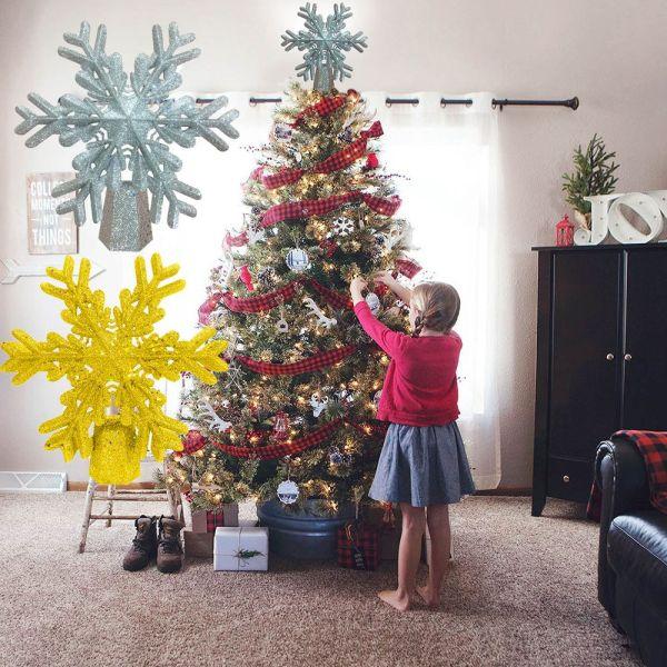 Bảng giá GOTORADE Hot Sliver Gold Glitter Lighted Rotating Snowflake LED Christmas Tree Topper Lighted White Snowflake Projector Christmas Tree Decorations