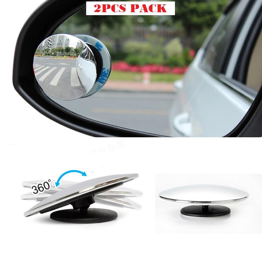 Car Rear View Blind Spot Mirror, Round Stick-On Convex Mirror Wide Angle View Mirror For Safer Driving-2pcs Set By Gadget Hunter Collections.