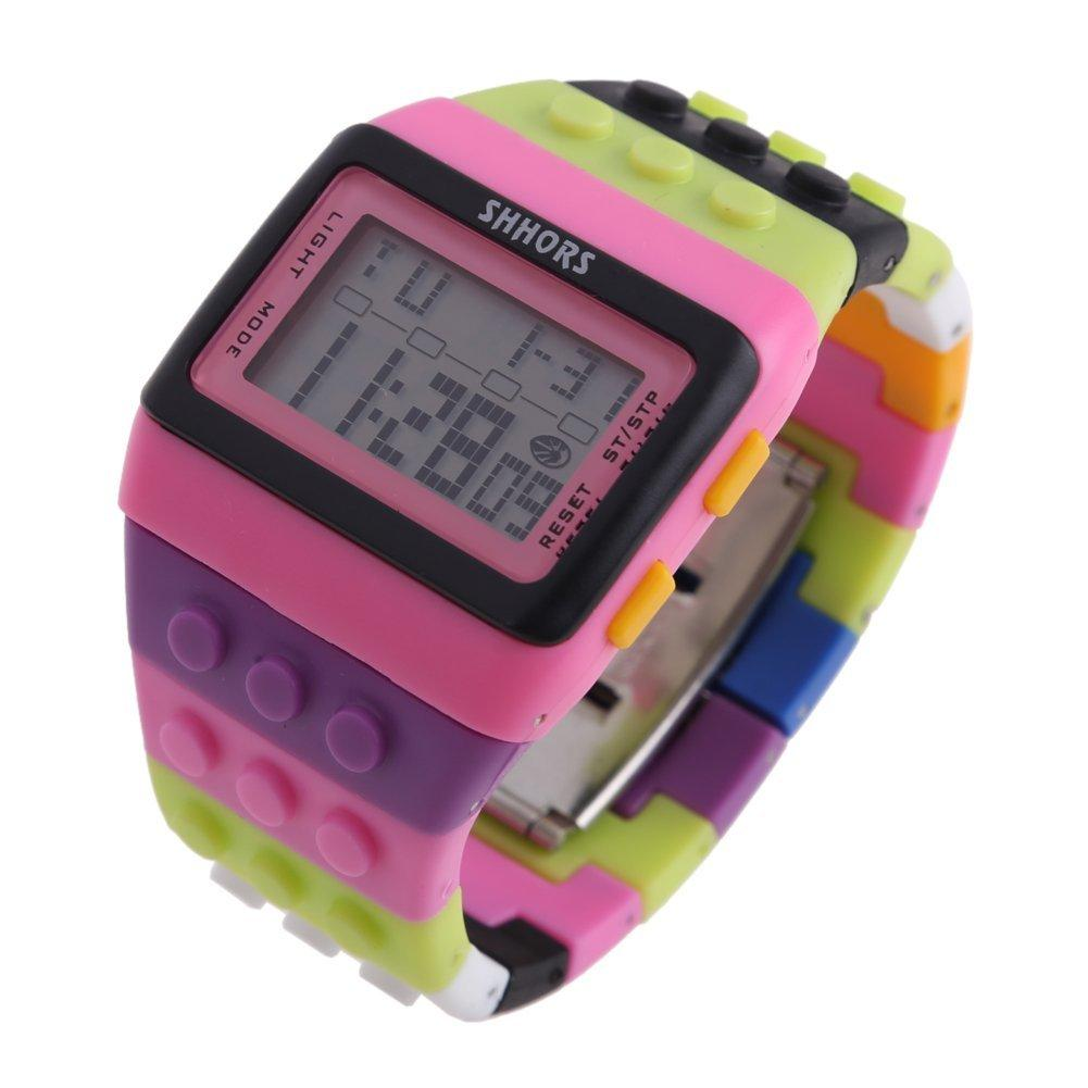 SHHORS Rainbow Color Multifunction Waterproof LED Children Wrist Watch Swimming Sports Watch Digital Wrist Watch Malaysia