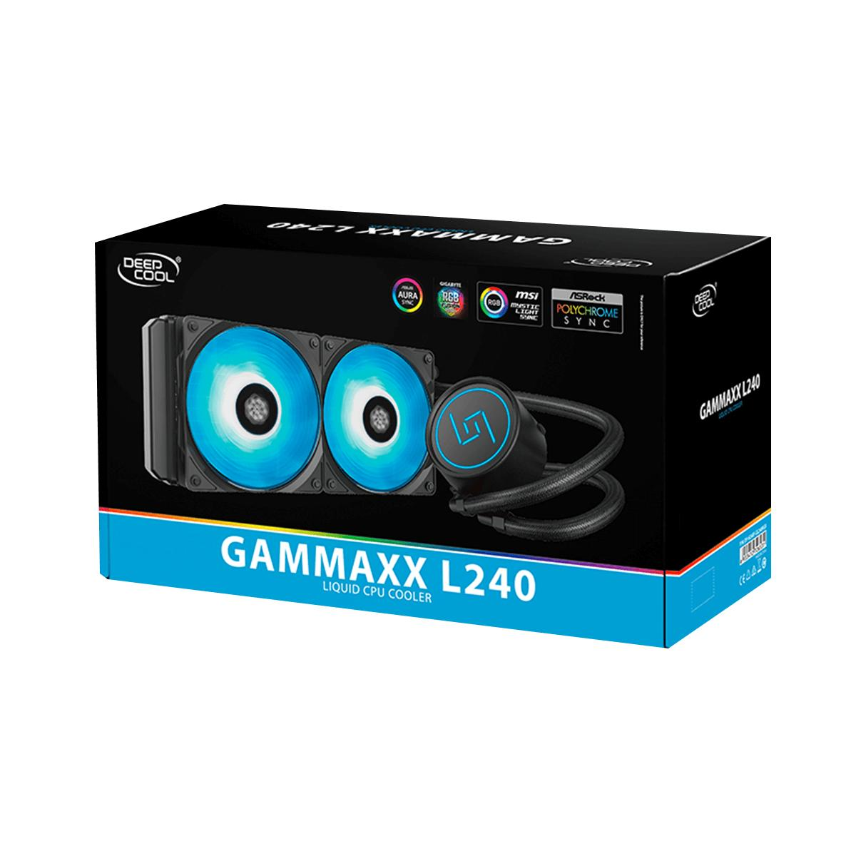 Deepcool Gammaxx L240 RGB AIO Liquid Cooler, Deep Cool Water Cooling with  240 Aluminum Radiator and 2x 120mm RGB Deepcool Fan, RGB sycnc to Asus  AURA,