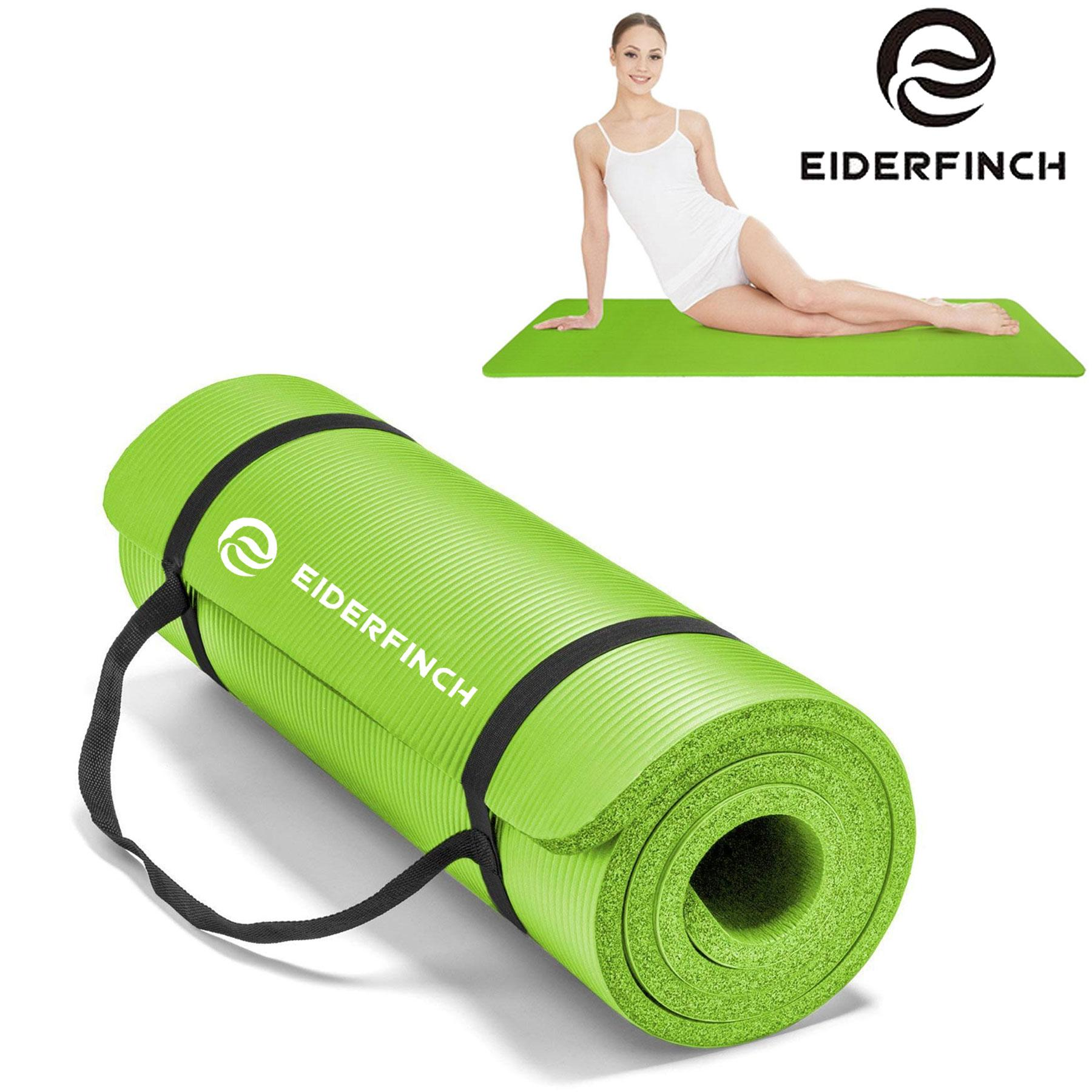 Eiderfinch Extra Thick Yoga Exercise Mat With Carrying Strap