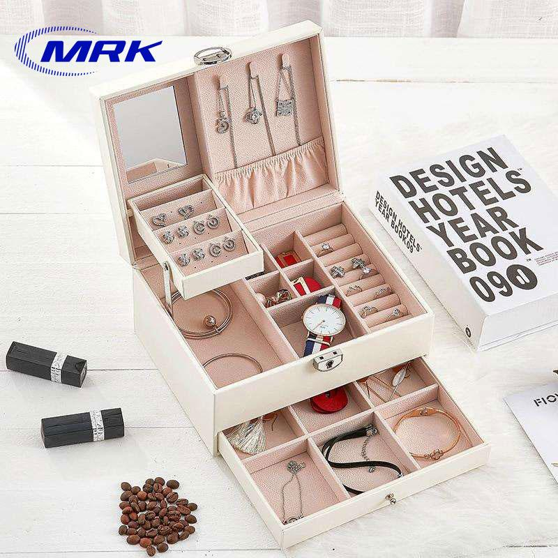 591e77156 Multi-layer Jewelry Box Large Capacity Jewelry Organizer Leather Luggage Ring  Necklace Watch Collection Box