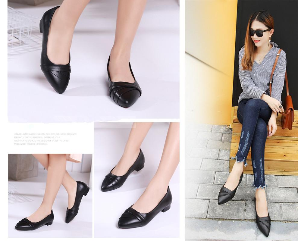 0166a7d0d7c4 2019 Korean style black shoes for women pointed flat shoes for office  ladies school student