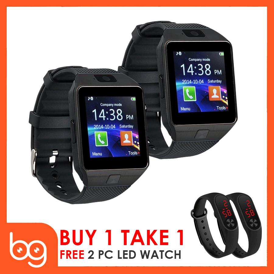 Dz09 Quad Smart Watch Set Of 2 (black) With Free 2 Led Watch (black) By Better Goods.