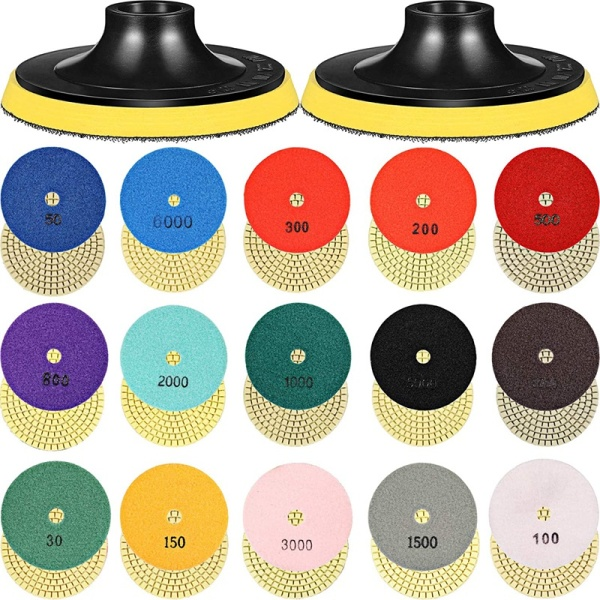 18 Pcs 4 Inch Diamond Polishing Pads Set 16 Pcs 30-8000 Grit Pads with 2 Pieces Hook and Loop Backing Holder Pads