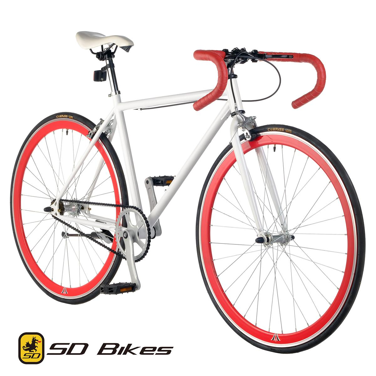 125415980ef SD Fixed Gear Single Speed Fixie Road Bike Drop Bar (Gloss White/Red)