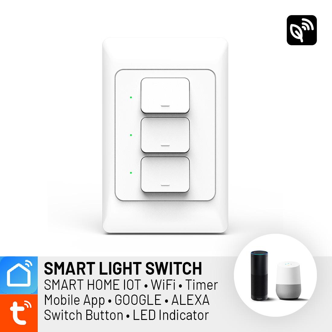 SMART WIFI Light Switch Button 3-GANG WHITE Wall LED