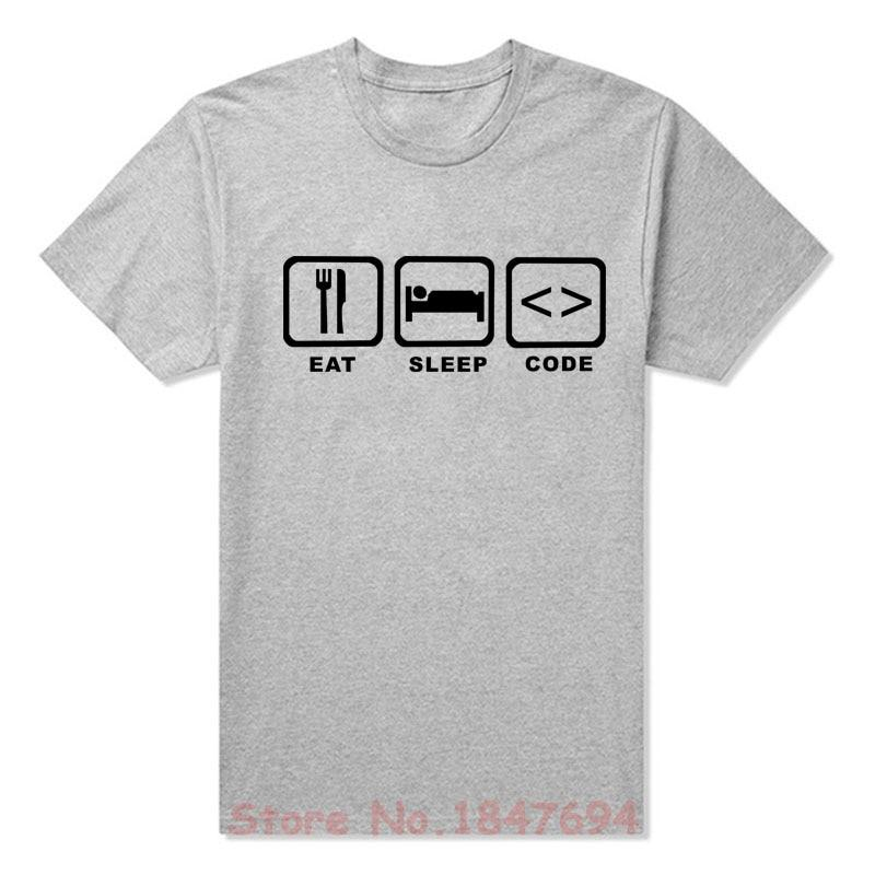 4b9a23fbfab New Summer Style Eat Sleep Code Programming JAVA HTML Comedy T-shirt Funny  Programmers T