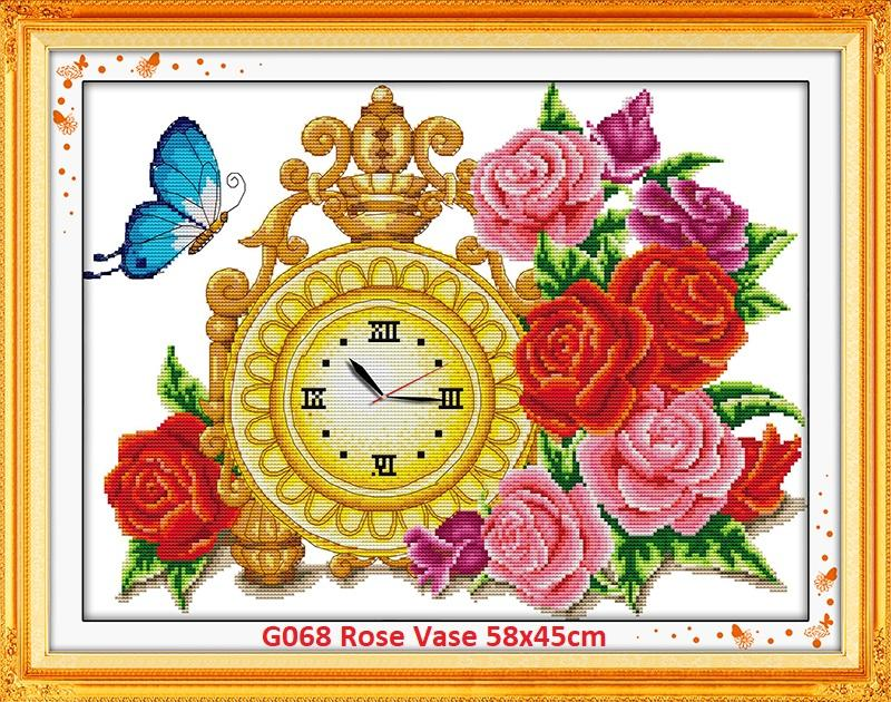 Rose Vase(clock) Stamped/printed Cross Stitch Complete Set By Stamped To Stitch.