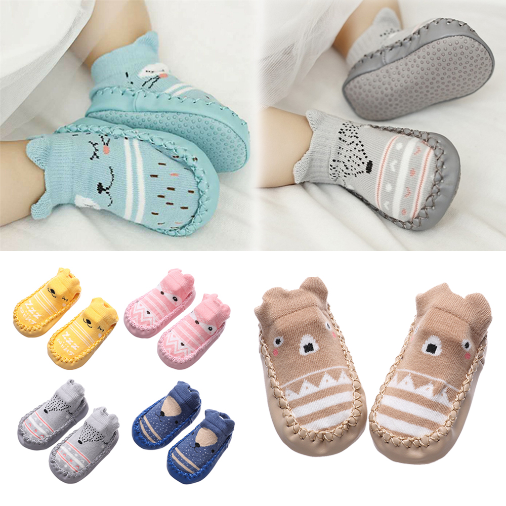 Comfort Soft Cotton Floor Socks Infant Crib Shoes Kids Booties Anti Slip Shoes