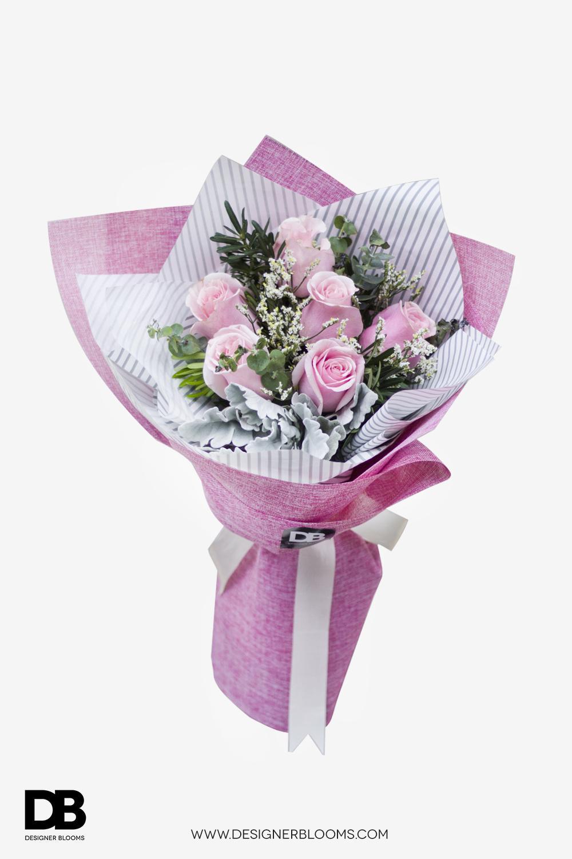 6 Ecuadorian Roses in a Bouquet (Pink)