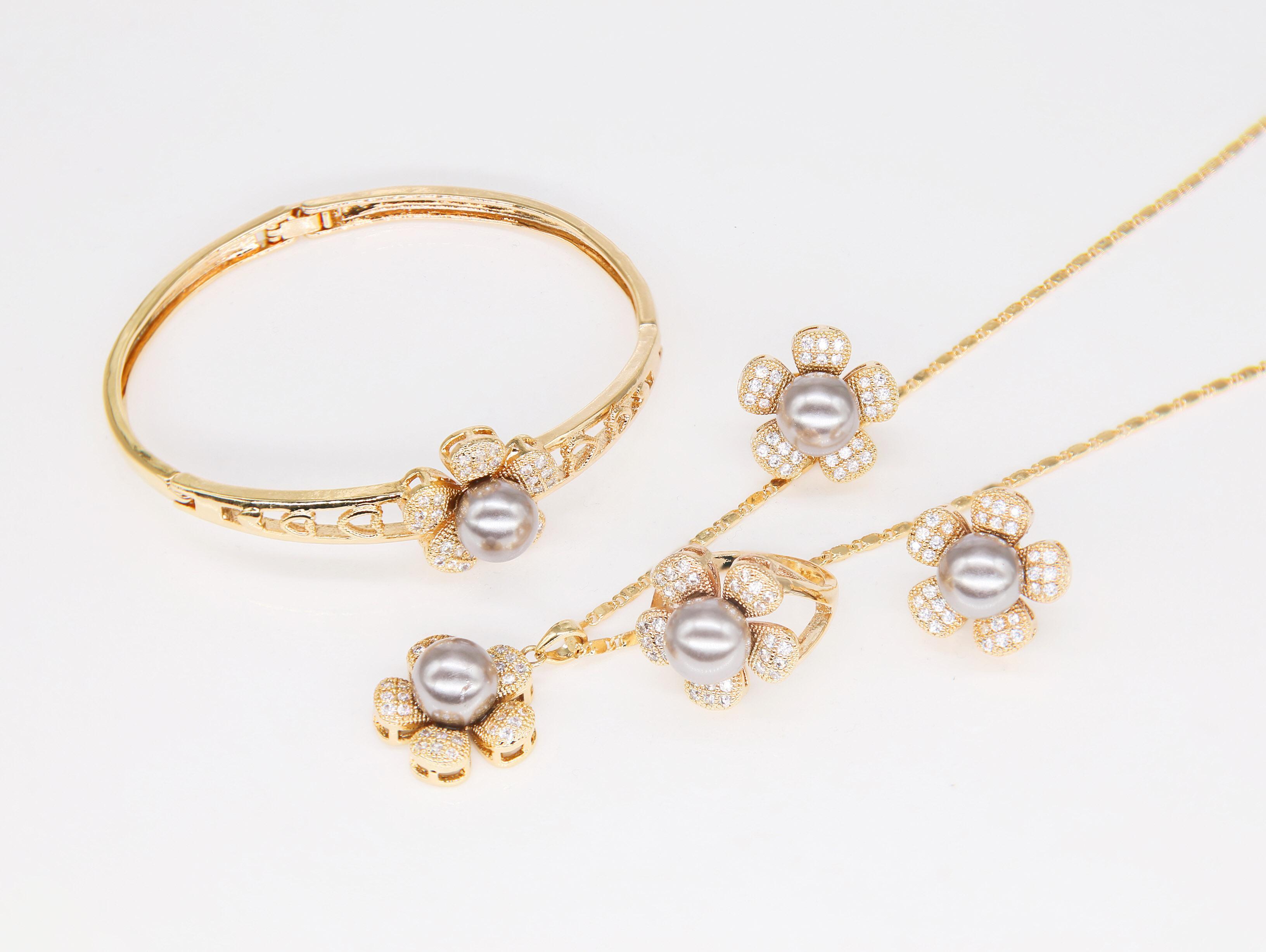 63a2388e6 DS Korea design style party wedding fashion luxury ladies flower pearl  necklace,ring,bracelet