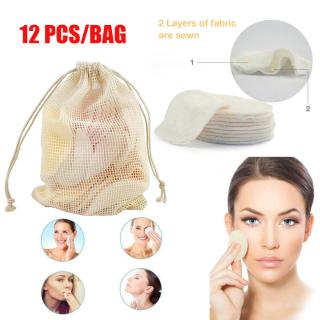 12 Cái túi Hot Tái Sử Dụng Chăm Sóc Da Lười Biếng Làm Sạch Khăn Trang Điểm Remover Miếng Đệm Miếng Rửa Mặt Cotton Tre Mặt Khăn Lau thumbnail