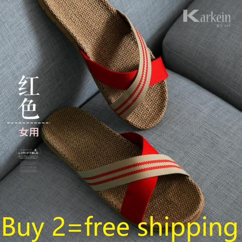 d00f43424a4 Chitoso Brand Summer home linen men and women indoor anti slip comfort  floor slippers KTZ01