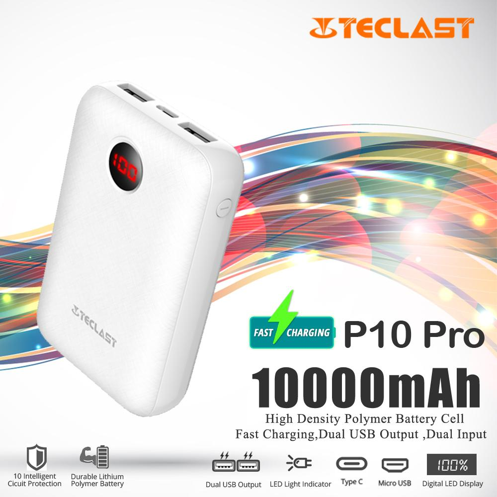 TECLAST P10 Pro 10000mAh Fast charging Power Bank Mini Portable Charger  2 0A Dual input 2 1A Dual output LED Display PowerBank