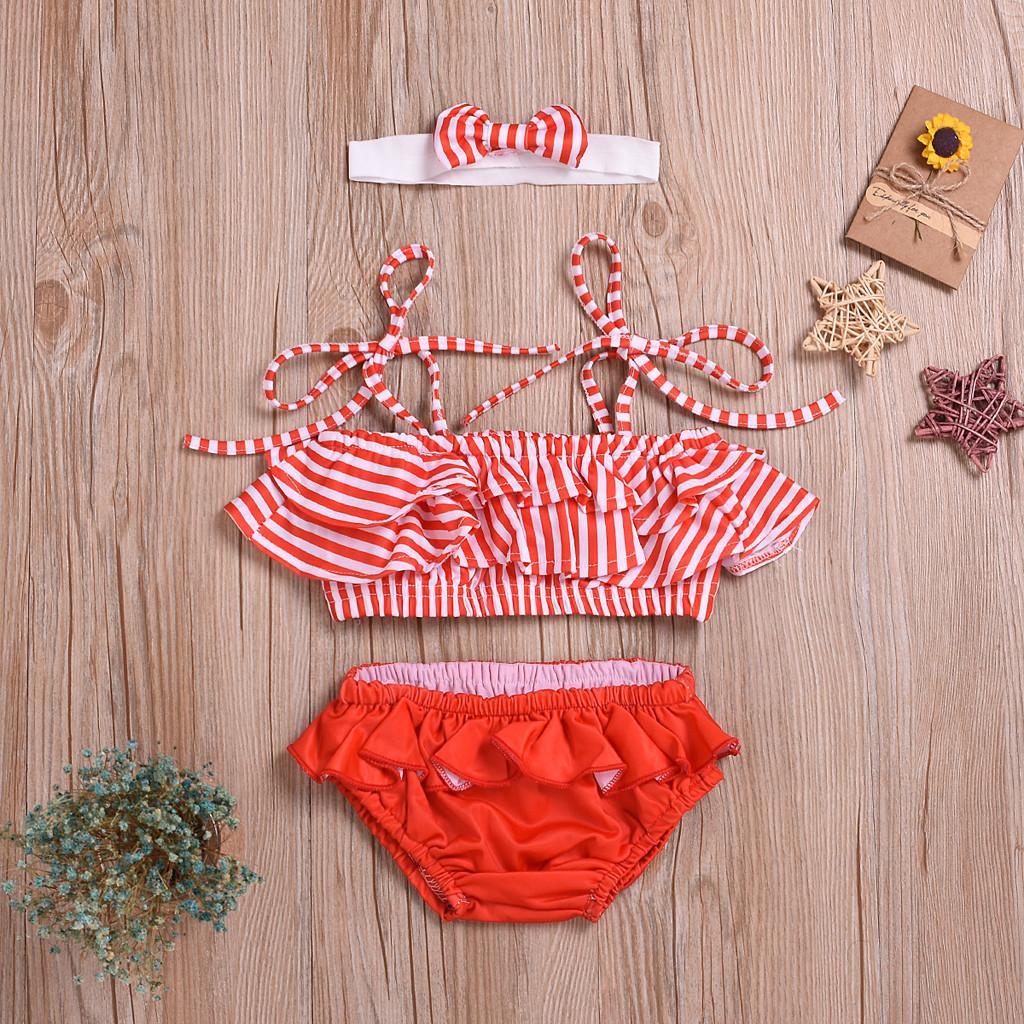 d302381449c93 Warmihome Kids Baby Girls Striped Strap Bikini Beach Swimsuit Bathing  Swimwear Set Outfits