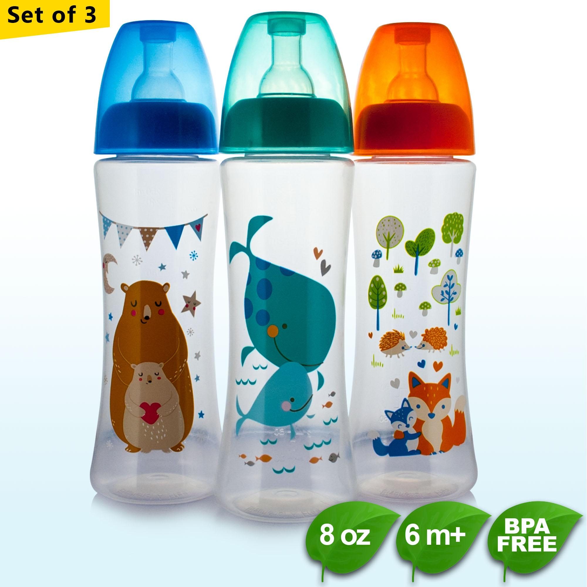 Bpa Free Coral Babies 8oz Feeding Bottles W/ Silicone Nipple By Coral Babies.
