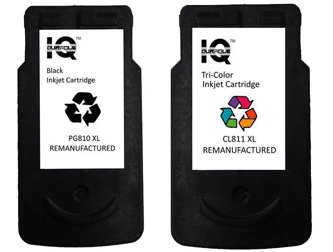 Remanufactured Canon Pg-810 Xl (black) With Canon Cl-811 Xl (tri-Color) Ink Cartridge By Iq Durable.