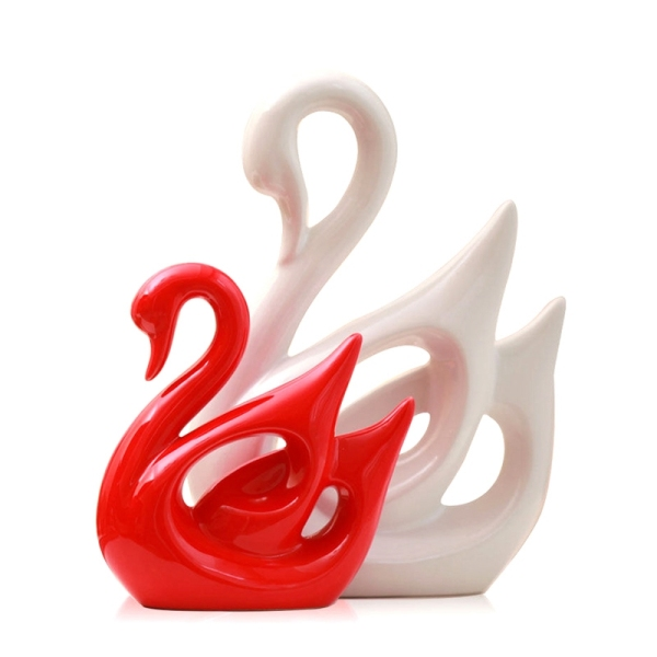 Ceramic Animal Swan Sculpture Porcelain Jewelry Crafts Art Statue Home Desk Decoration Gifts
