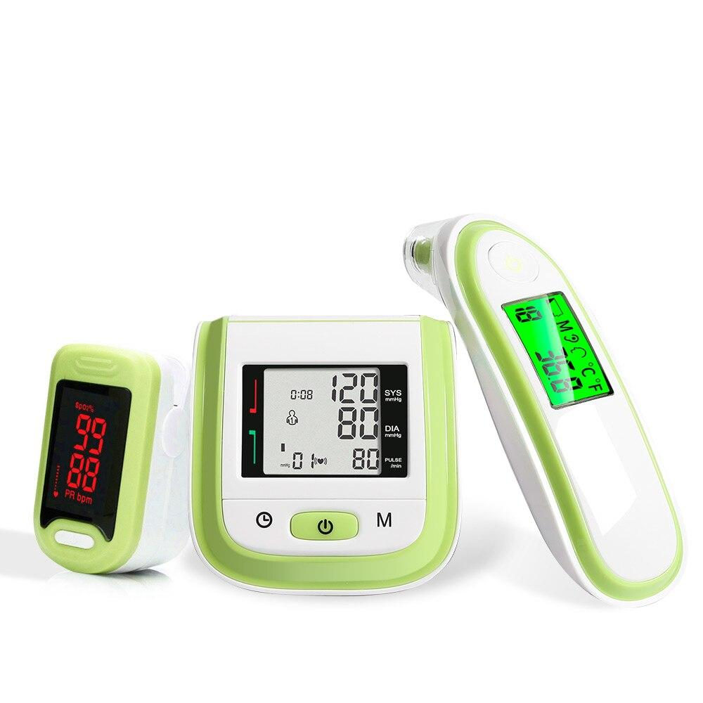 (green )Yongrow LCD Wrist Blood Pressure Monitor & LED Fingertip Pulse Oximeter & Baby Ear Infrared Thermometer Family Health Care Gift LLT Store