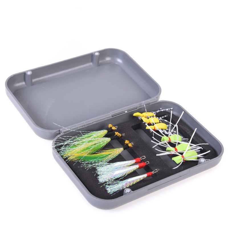 LEO 12Pcs Fishing Lure Set Lifelike Insect Soft Flying Fishing Feather Hook Outdoor Portable Fishing Tackle Tool With Box Pesca