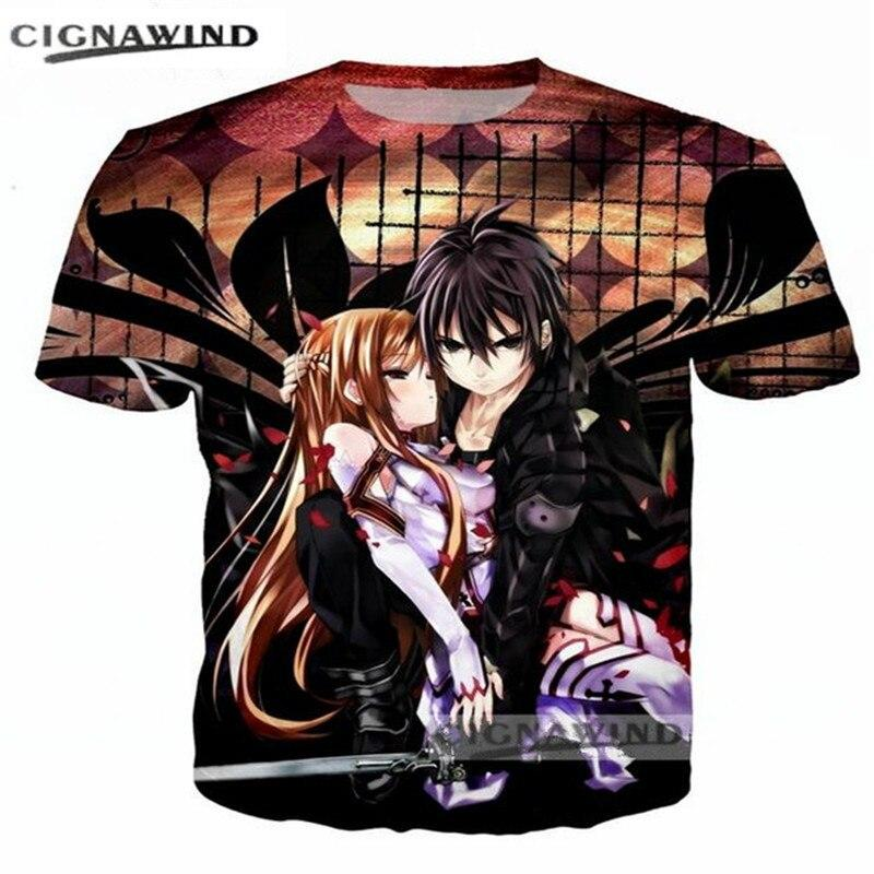 New Women Men Casual 3D T-Shirt Sword Art Online Anime Print Short Sleeve Tee